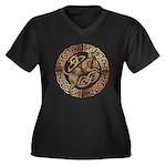 Celtic Dog Women's Plus Size V-Neck Dark T-Shirt