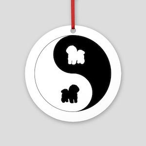 Yin Yang Bichon Ornament (Round)