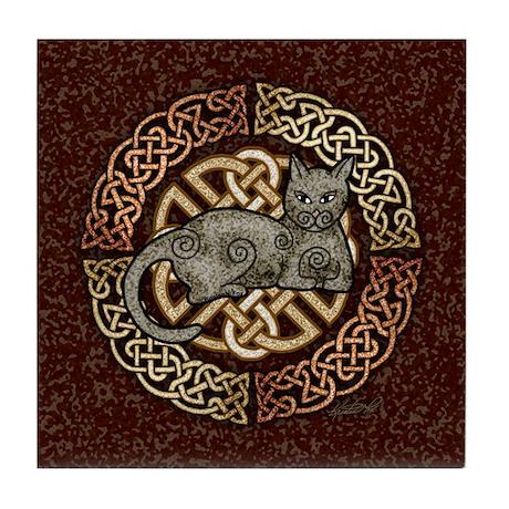 Celtic Cat Tile Coaster