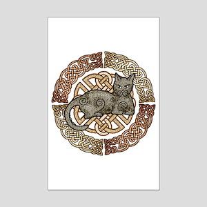 Celtic Cat Mini Poster Print