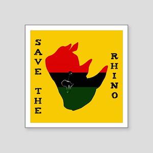 "Save Rhino Africa Tear Yell Square Sticker 3"" x 3"""