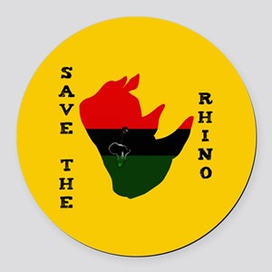 Save Rhino Africa Tear Yellow Round Car Magnet