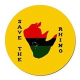 Save the rhino Round Car Magnets