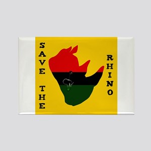 Save Rhino Africa Tear Yellow Rectangle Magnet