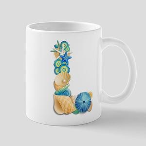 Beach Theme Monogram Letter L Mugs