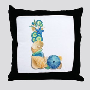 Beach Theme Monogram Letter L Throw Pillow