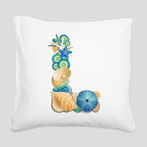 Beach Theme Monogram Letter L Square Canvas Pillow