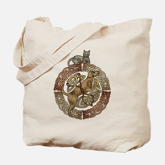 Celtic Cat and Dog Tote Bag
