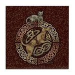 Celtic Cat and Dog Tile Coaster