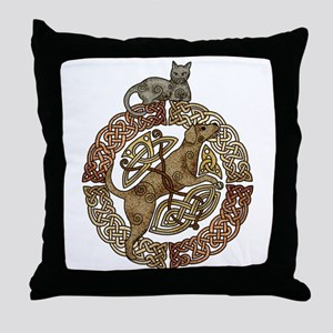 Celtic Cat and Dog Throw Pillow