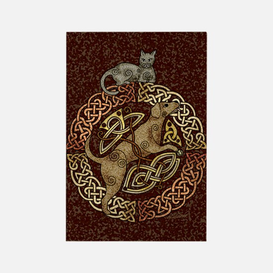 Celtic Cat and Dog Rectangle Magnet