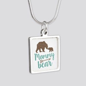 Mommy Bear Silver Square Necklace