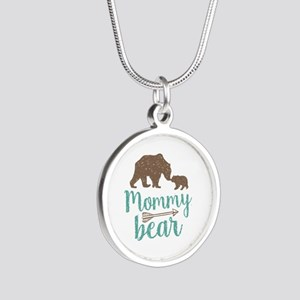 Mommy Bear Silver Round Necklace