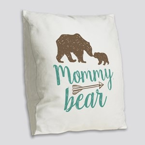Mommy Bear Burlap Throw Pillow
