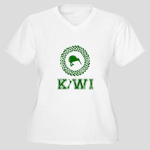Green New Zealand Kiwi Women's Plus Size V-Neck T-