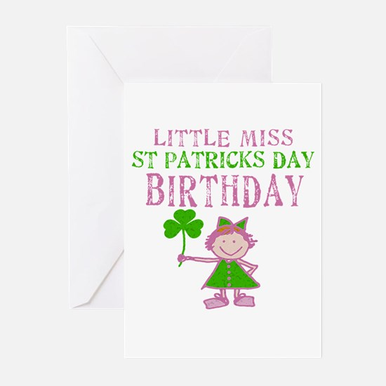 Little Miss St. Patrick's Day Birthday Greeting Ca