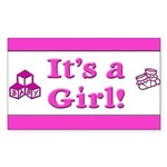 It's A Girl! Rectangle Sticker 10 pk)