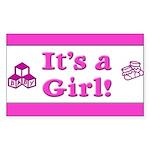 It's A Girl! Rectangle Sticker 50 pk)