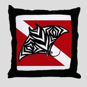 Manta Dive Throw Pillow