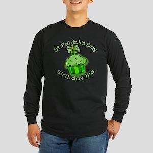 St Patricks Day Birthday Kid Long Sleeve Dark T-Sh