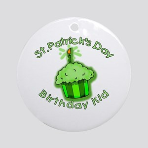 St Patricks Day Birthday Kid Ornament (Round)