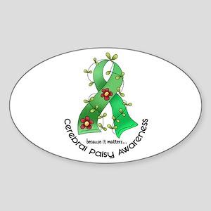 Flower Ribbon CEREBRAL PALSY Oval Sticker