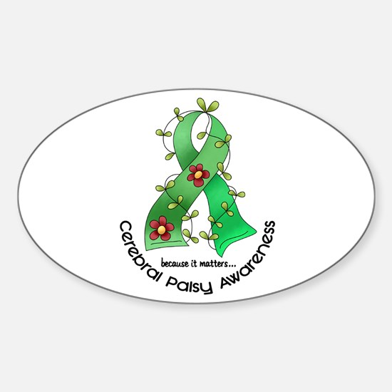 Flower Ribbon CEREBRAL PALSY Oval Decal