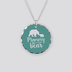 Mommy Bear Necklace Circle Charm