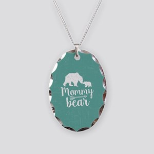 Mommy Bear Necklace Oval Charm