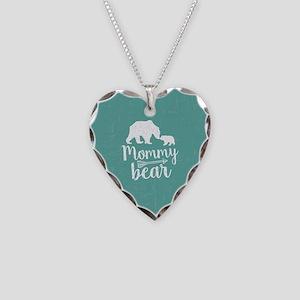 Mommy Bear Necklace Heart Charm