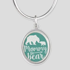 Mommy Bear Silver Oval Necklace