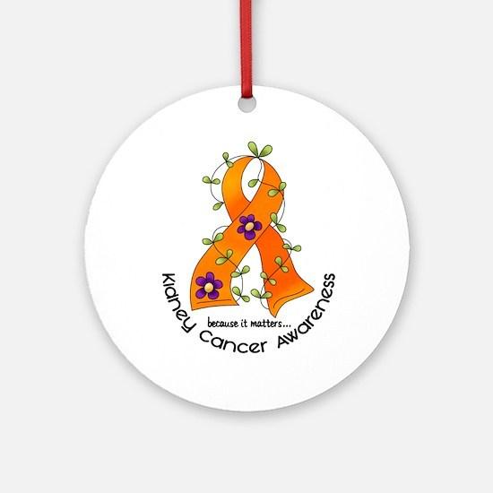Flower Ribbon KIDNEY CANCER Ornament (Round)