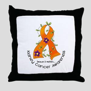 Flower Ribbon KIDNEY CANCER Throw Pillow
