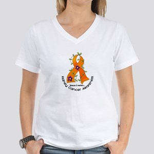 Flower Ribbon KIDNEY CANCER Women's V-Neck T-Shirt