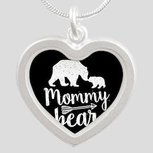 Mommy Bear Silver Heart Necklace