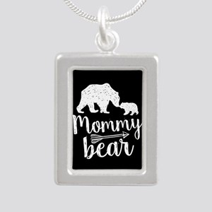Mommy Bear Silver Portrait Necklace