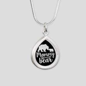 Mommy Bear Silver Teardrop Necklace