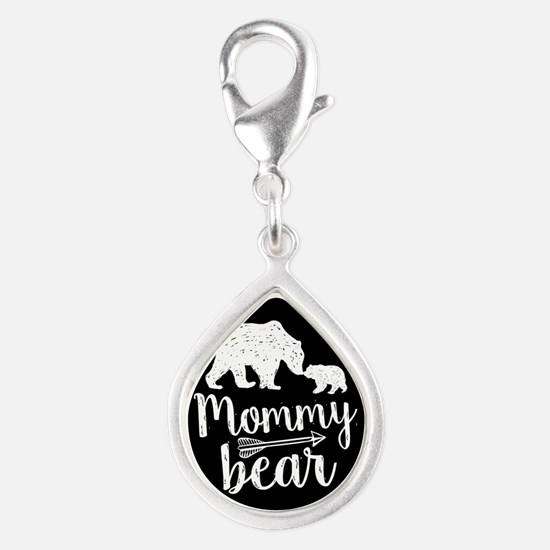 Mommy Bear Silver Teardrop Charm