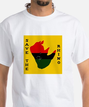 Save Rhino Africa Tear Yellow White T-Shirt