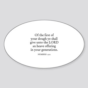 NUMBERS 15:21 Oval Sticker