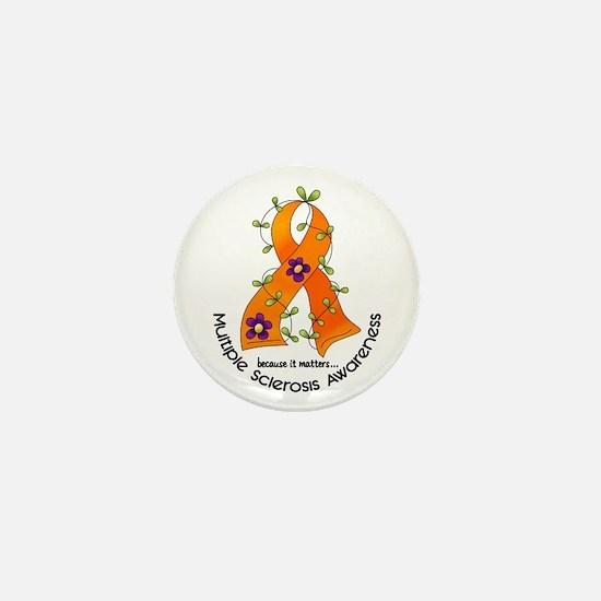 Flower Ribbon MS Mini Button