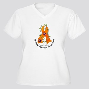 Flower Ribbon MS Women's Plus Size V-Neck T-Shirt