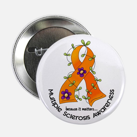 """Flower Ribbon MS 2.25"""" Button (10 pack)"""