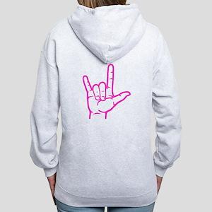 Fuchsia I Love You Women's Zip Hoodie