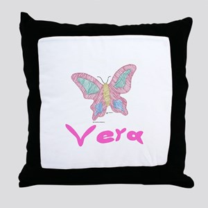 Pink Butterfly Vera Throw Pillow