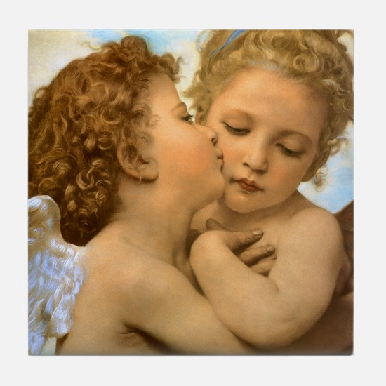 First Kiss by Bouguereau Tile Coaster