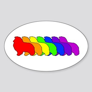 Rainbow Sheltie Oval Sticker