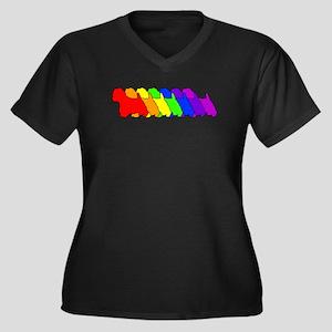 Rainbow Westie Women's Plus Size V-Neck Dark T-Shi