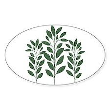 Green Plant Oval Sticker