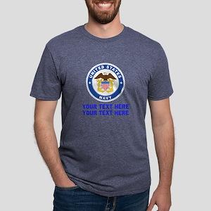 US Navy Emblem Customized Mens Tri-blend T-Shirt